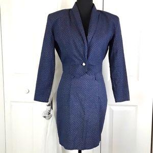 A.Byer 2 pc skirt set fitted VTG polka dot